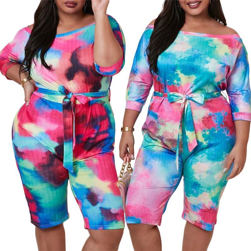 Plus Size Short Sleeve Jumpsuit - main picture
