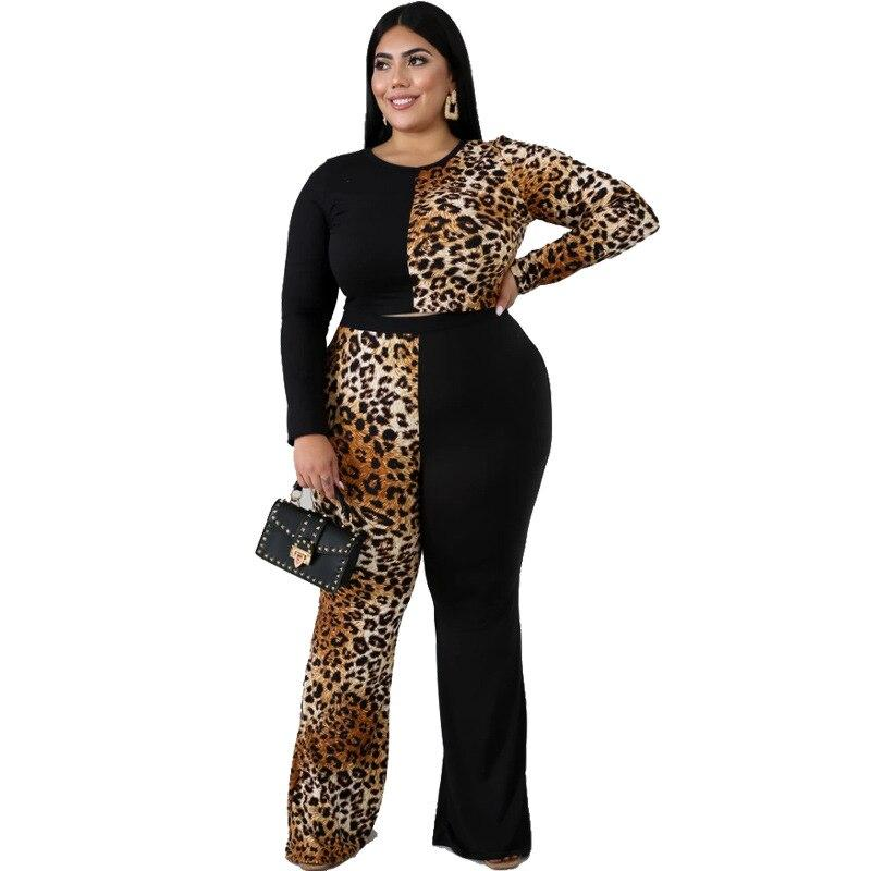 Plus Size Sleeve and Flare Trouser Set - brown positive