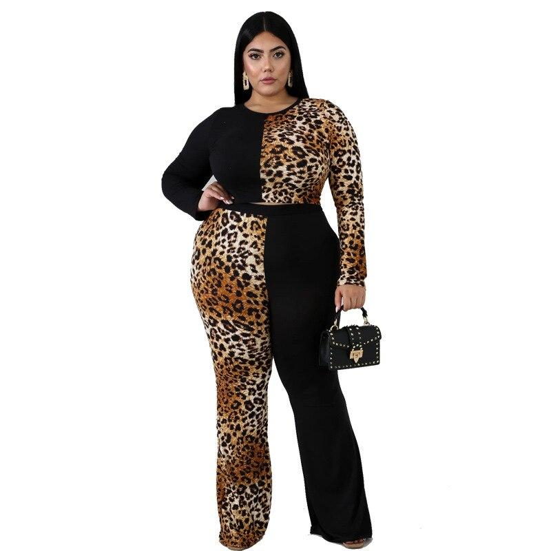 Plus Size Sleeve and Flare Trouser Set - brown color