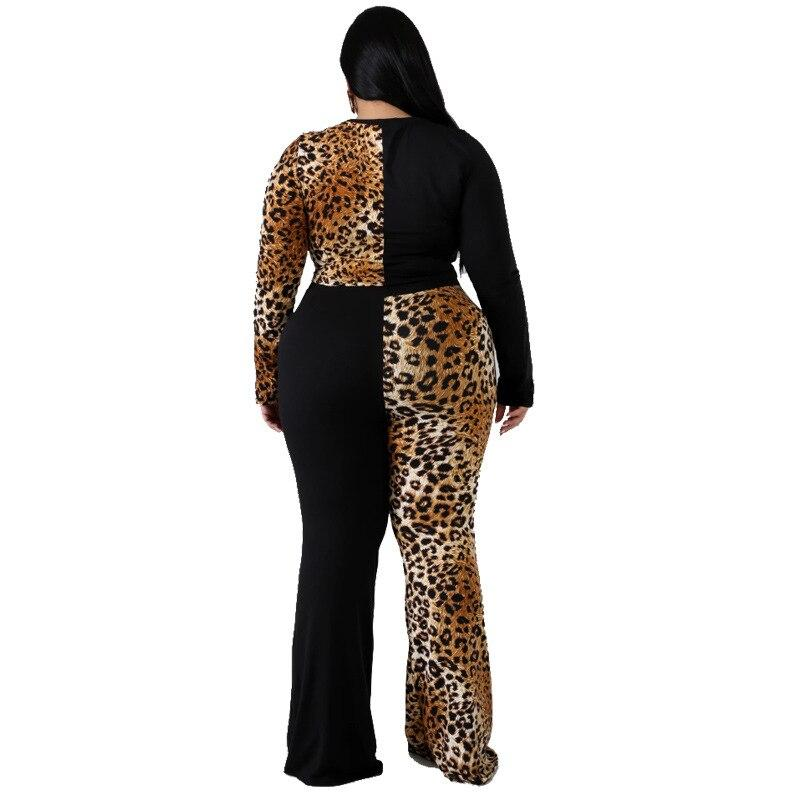 Plus Size Sleeve and Flare Trouser Set - brown back