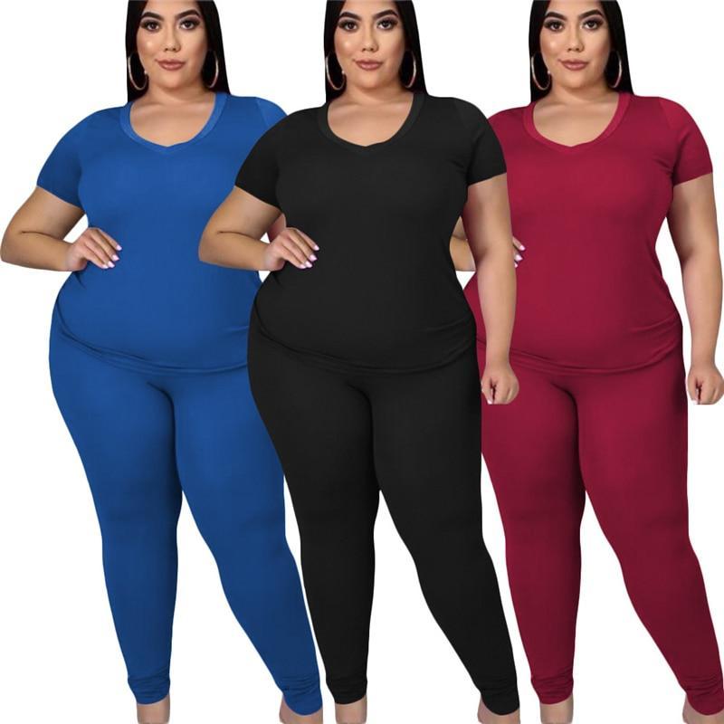 two piece pants set plus size - main picture
