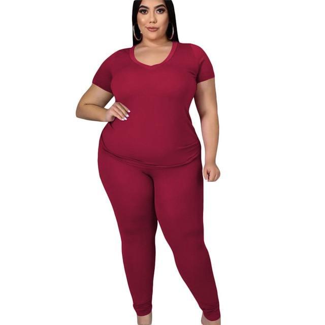 two piece pants set plus size - red color