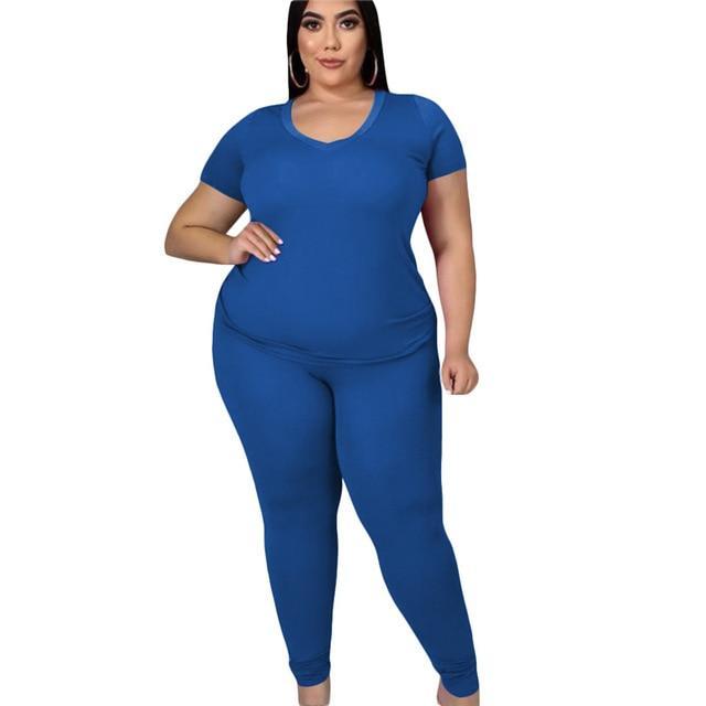 two piece pants set plus size - blue color