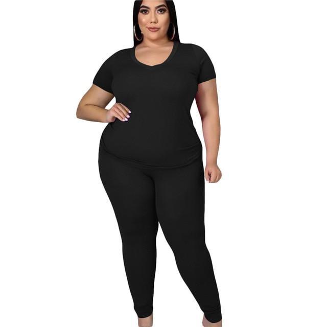 two piece pants set plus size - black color