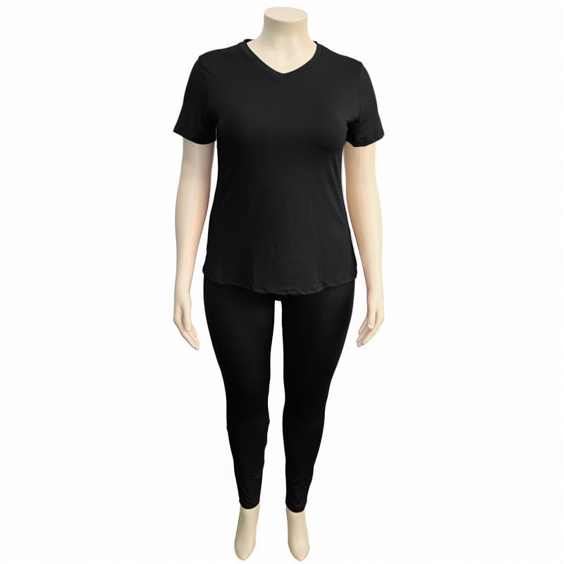 two piece pants set plus size - black positive