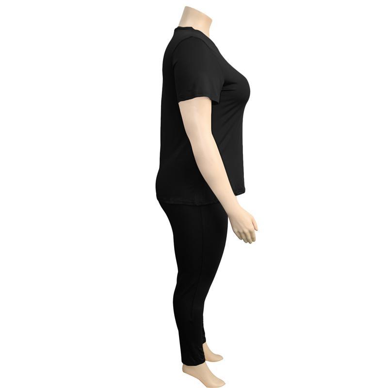 two piece pants set plus size - black right
