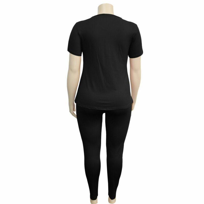 two piece pants set plus size - black back