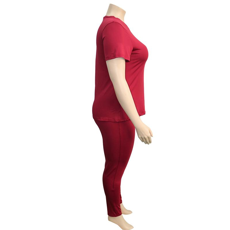 two piece pants set plus size - red right