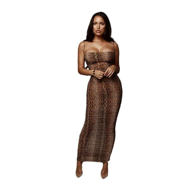 Sexy Leopard Print Snake Skin Dress - brown color