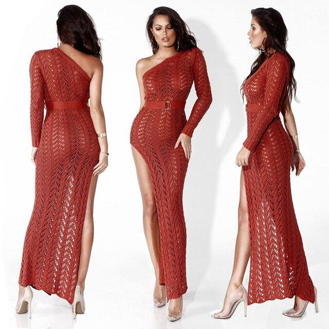 Long Knit Dress - red color