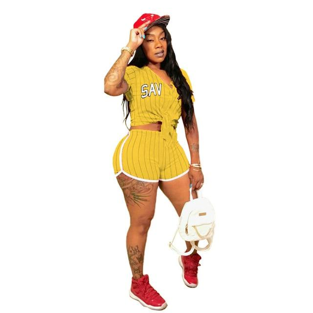 Plus Size Summer 2 Piece Sets Womens - yellow color