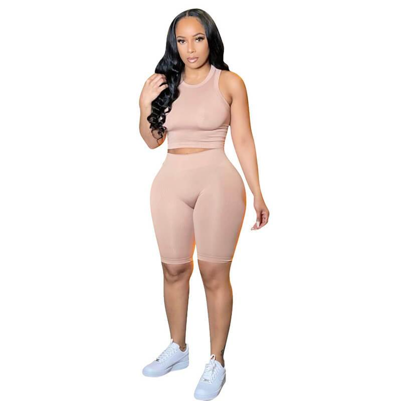 Ribbed Two Piece Set-apricot-front view