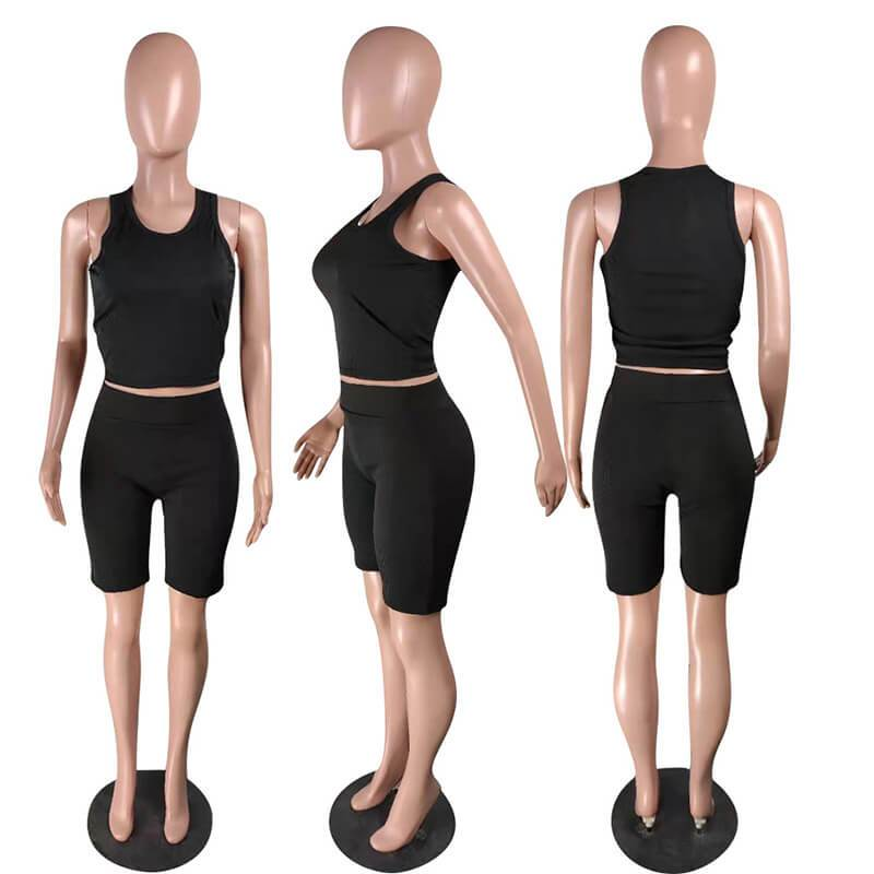 Ribbed Two Piece Set-black-model view