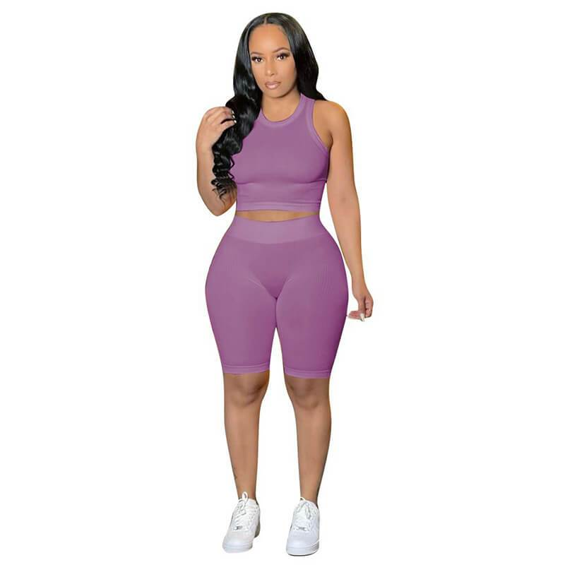 Ribbed Two Piece Set-light purple-front view