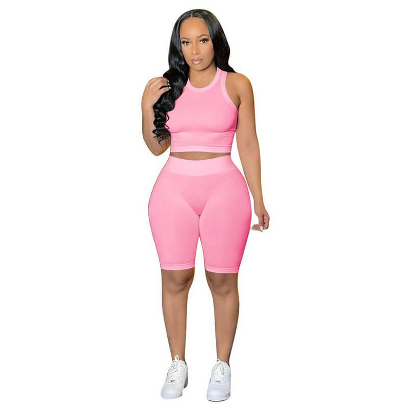 Ribbed Two Piece Set-pink-front view