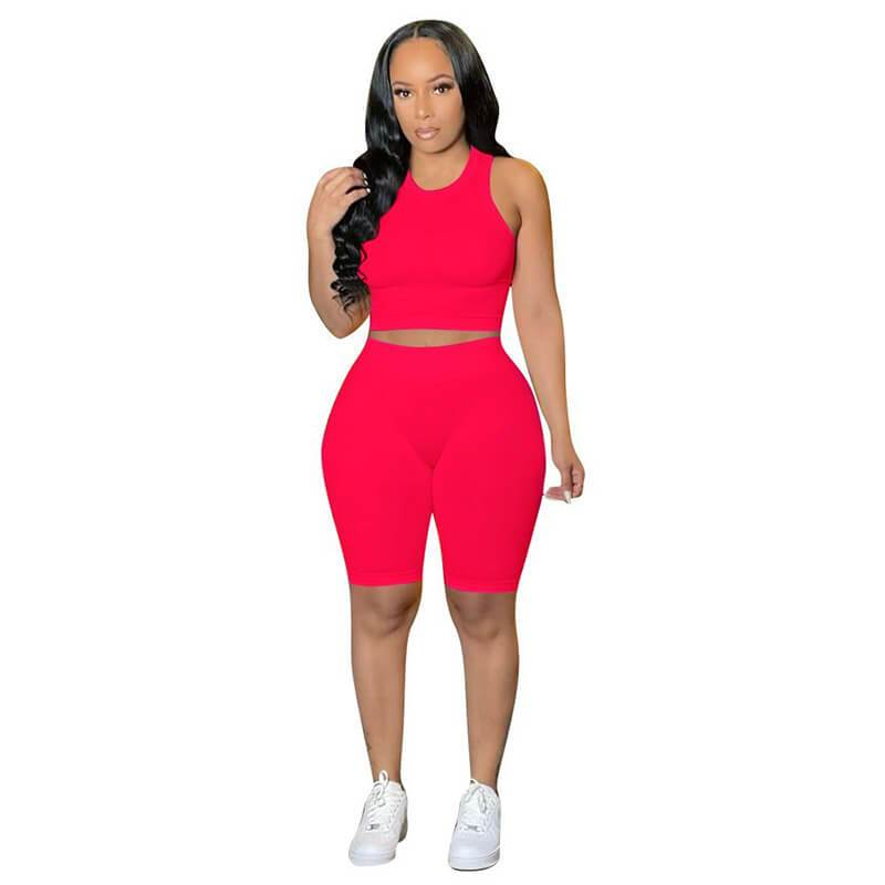 Ribbed Two Piece Set-red-front view