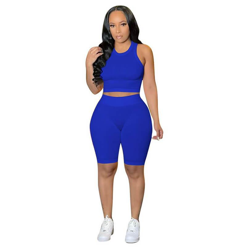 Ribbed Two Piece Set-sapphire-front view