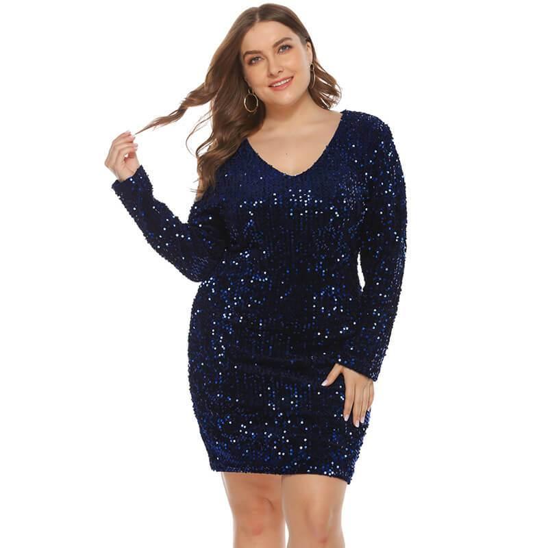 plus size sequin party dress- blue positive