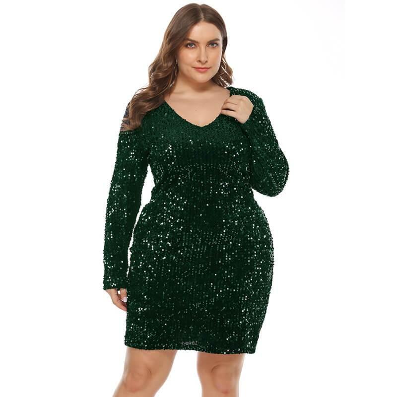 plus size sequin party dress- green color