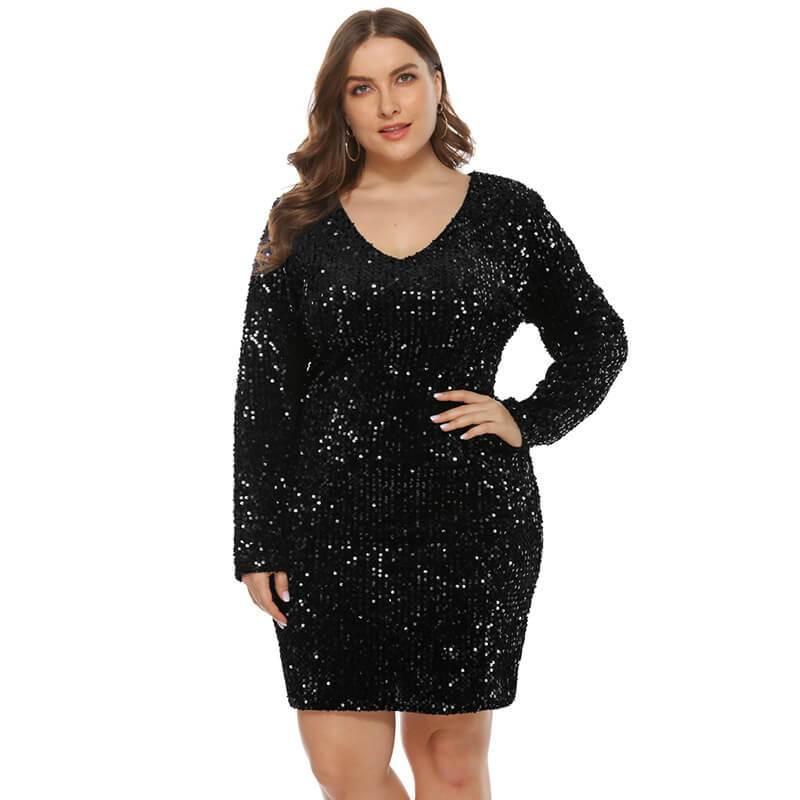 plus size sequin party dress- black color