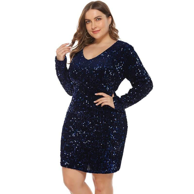 plus size sequin party dress- blue color