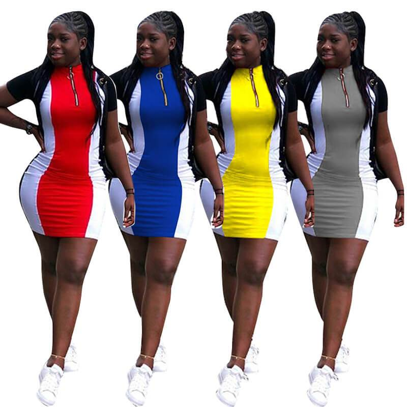 short sleeve casual dresses-model view