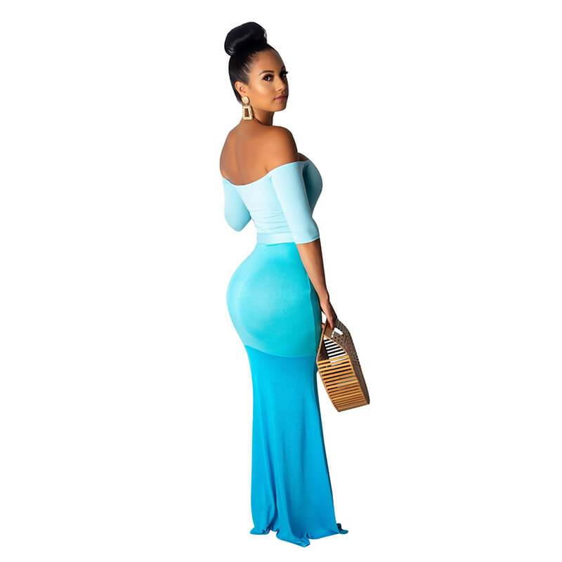 Long Maxi Dresses - Blue Color Right Side view
