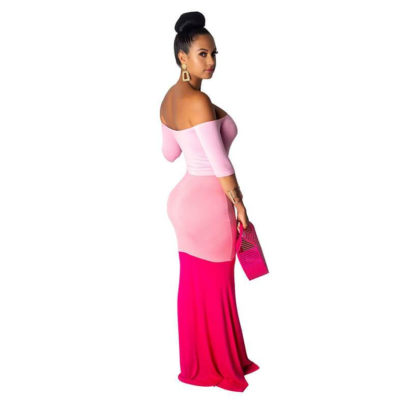 Long Maxi Dresses - Pink Color Right Side view