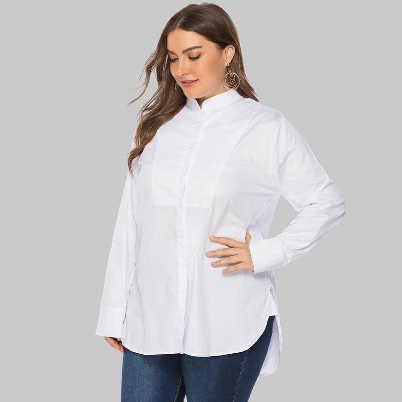Plus Size White Peasant Blouse - white side
