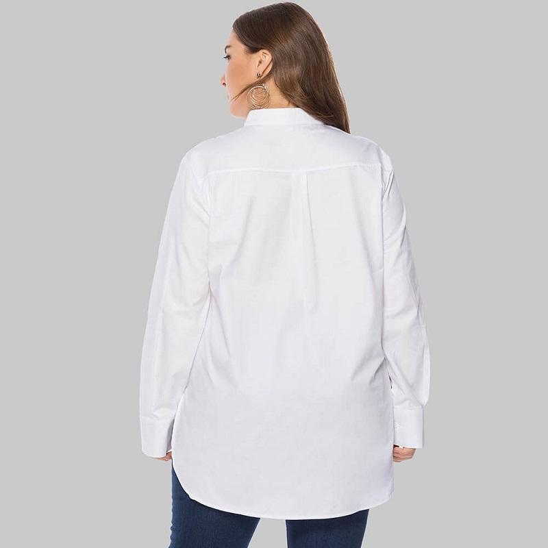 Plus Size White Peasant Blouse - white back