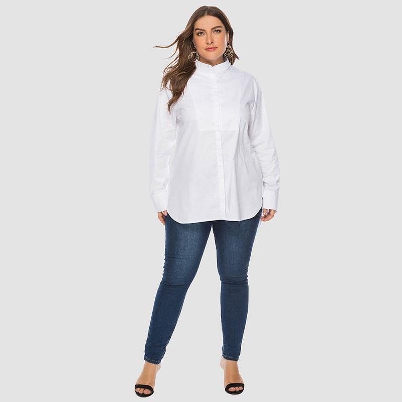 Plus Size White Peasant Blouse - white whole body
