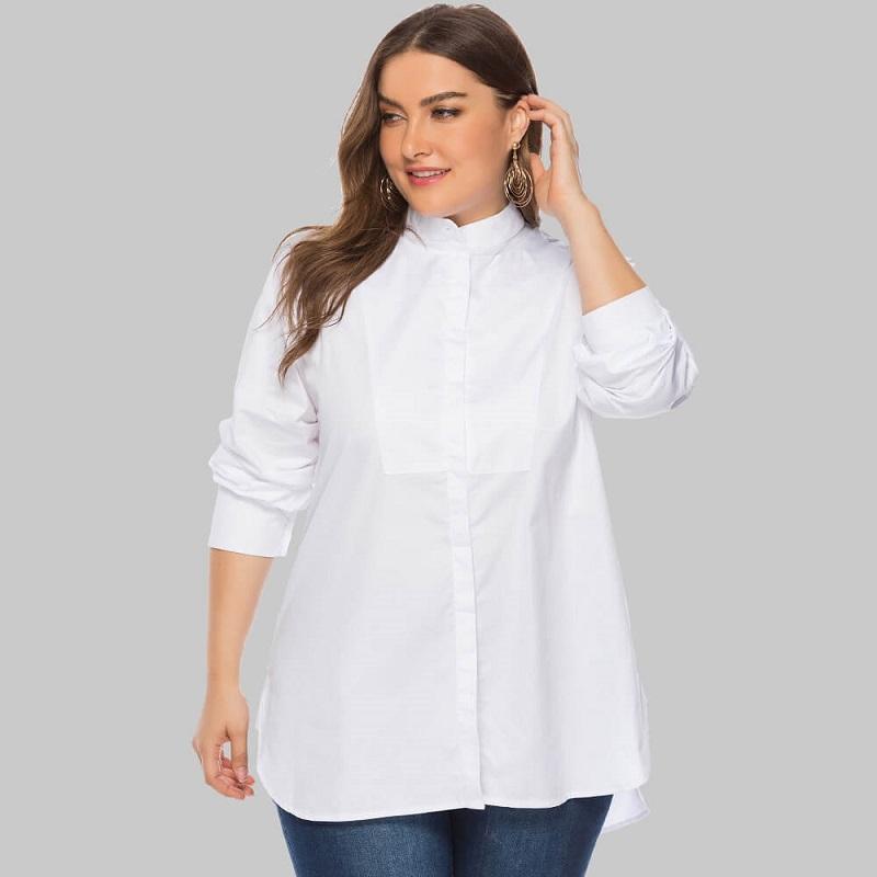 Plus Size White Peasant Blouse - white positive