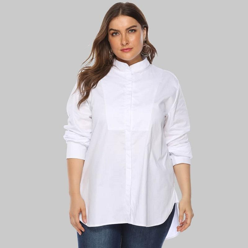 Plus Size White Peasant Blouse - white main picture