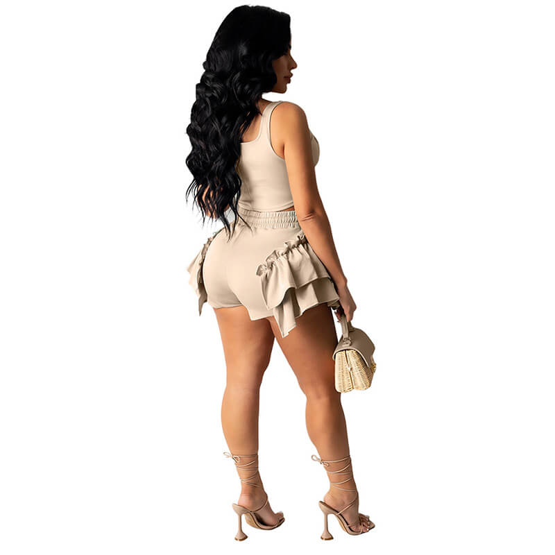 2 piece set shorts and top-apricot-back view