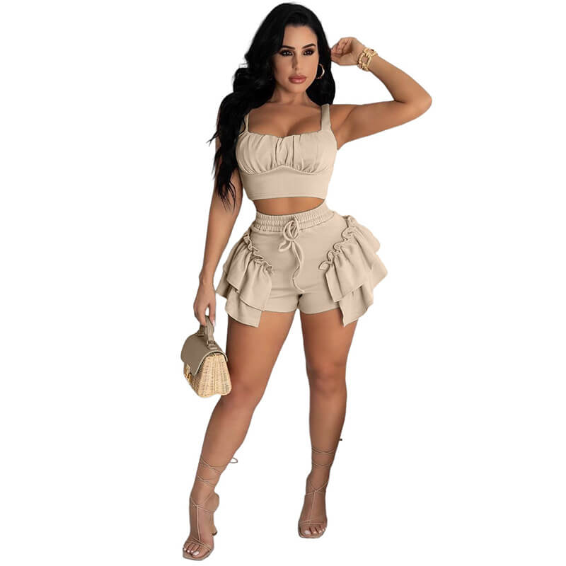2 piece set shorts and top-apricot-front view