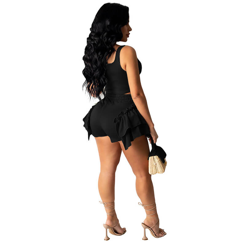 2 piece set shorts and top-black-back view