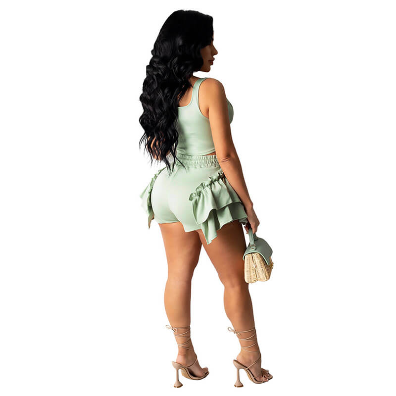 2 piece set shorts and top-ligth green-back view