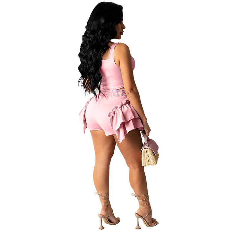2 piece set shorts and top-pink-back view