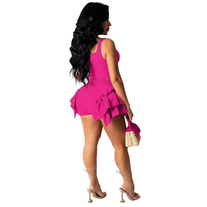 2 piece set shorts and top-rose red-back view