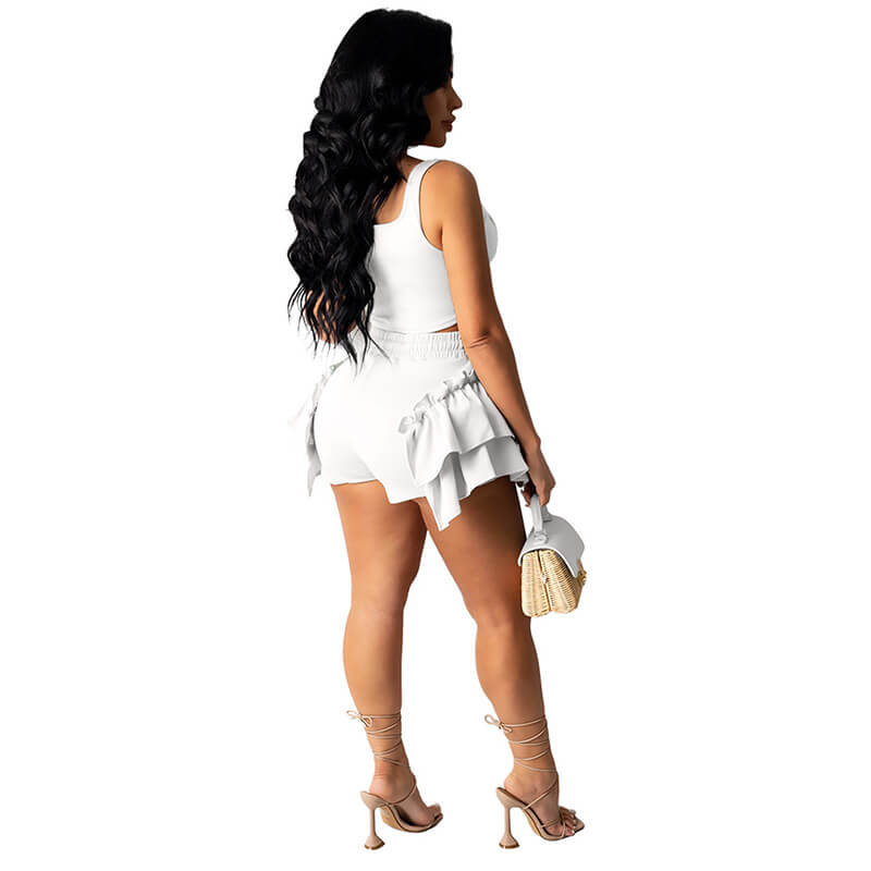 2 piece set shorts and top-white-back view