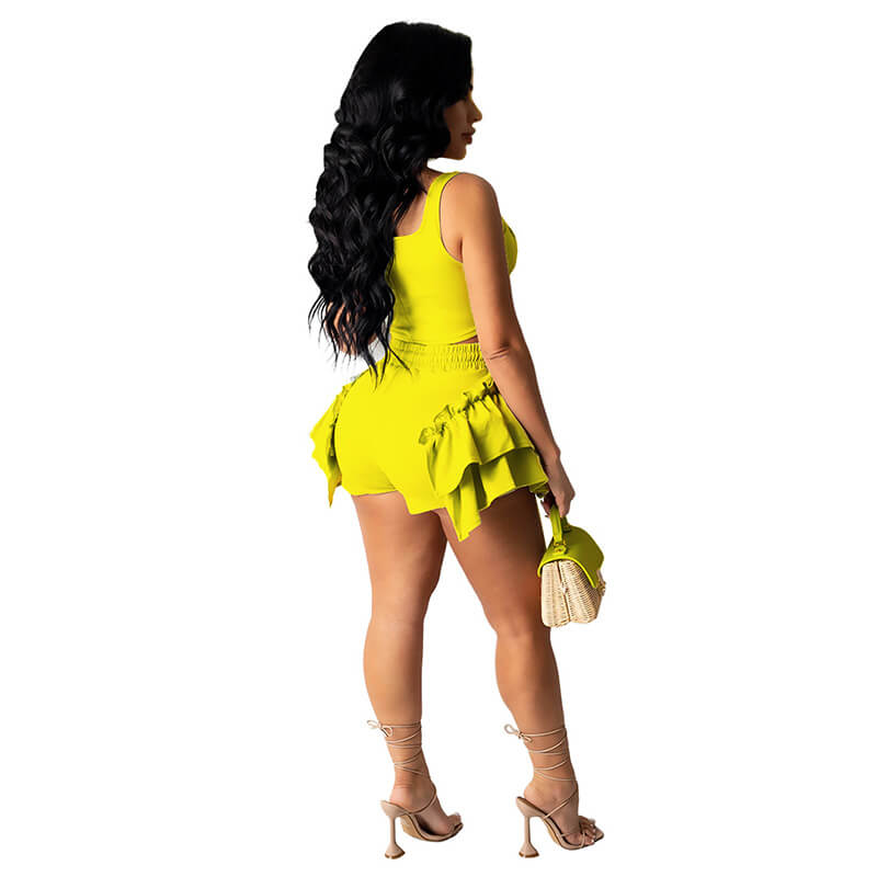 2 piece set shorts and top-yellow-back view