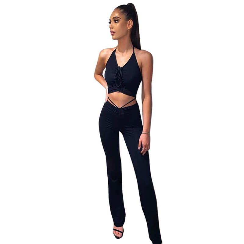 Crop Top And High Waisted Pants Set-black-front view