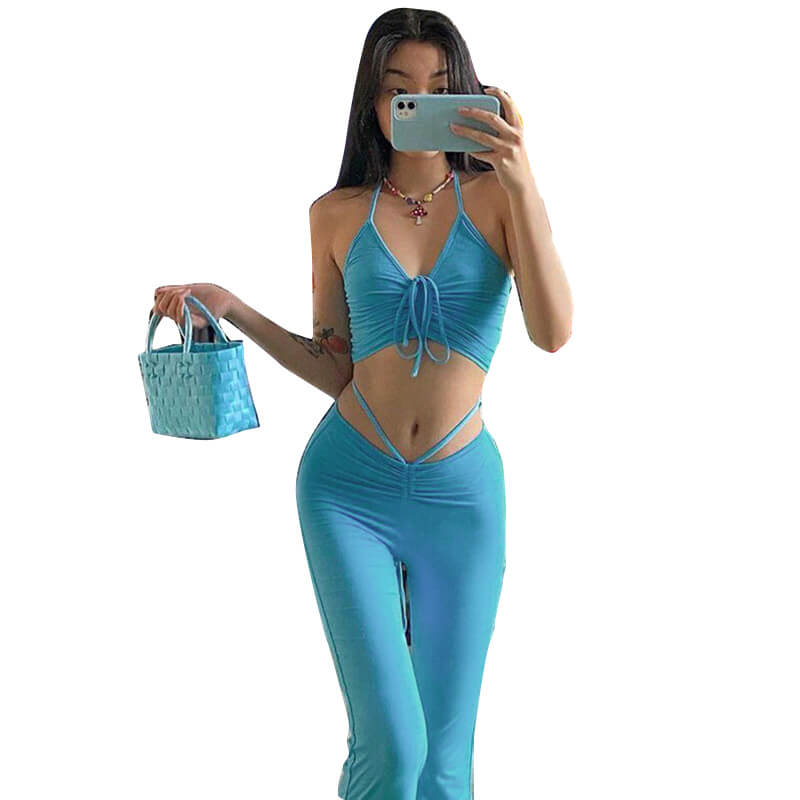 Crop Top And High Waisted Pants Set-blue