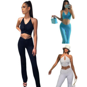 Crop Top And High Waisted Pants Set-model view