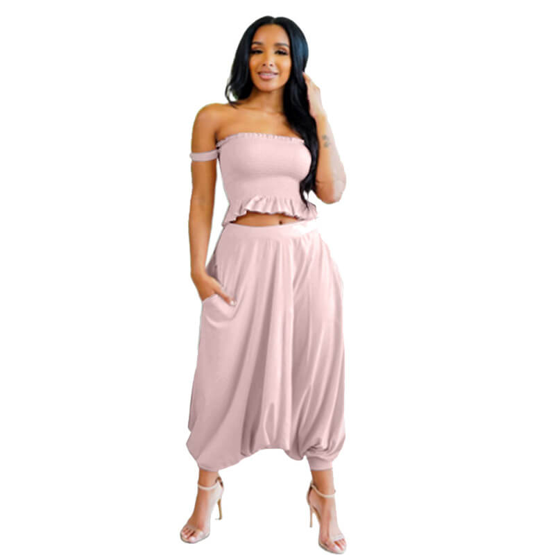 crop top set with pants-pink-front view