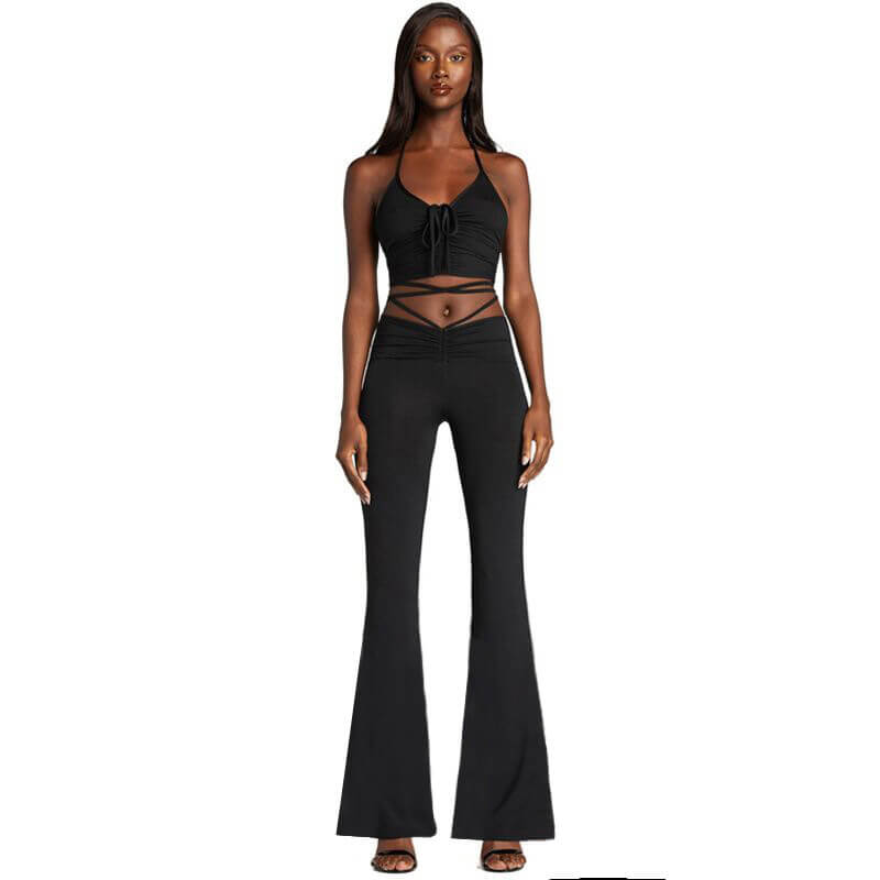 flare pants and crop top set-black-front view