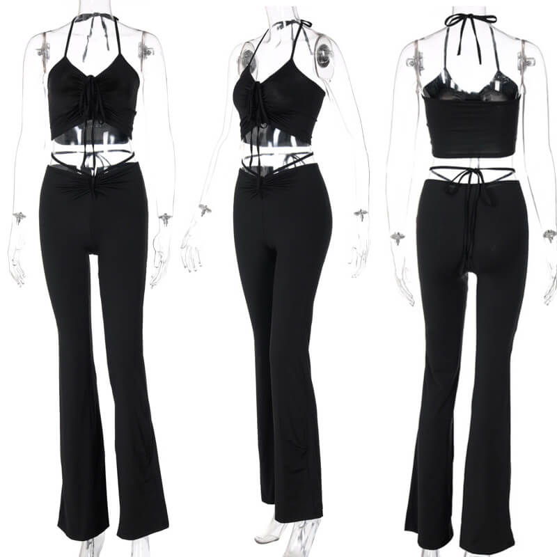 flare pants and crop top set-black-model view