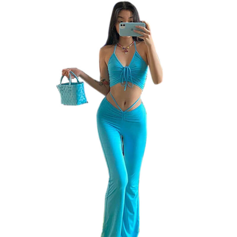 flare pants and crop top set-blue-front view