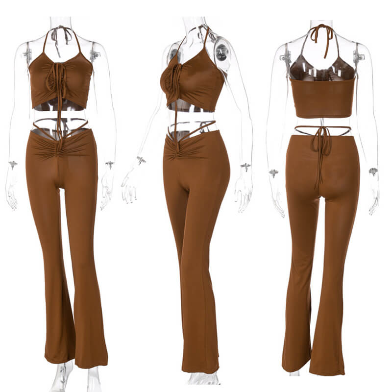 flare pants and crop top set-brown-model view