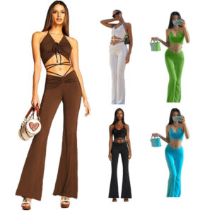 flare pants and crop top set-model view